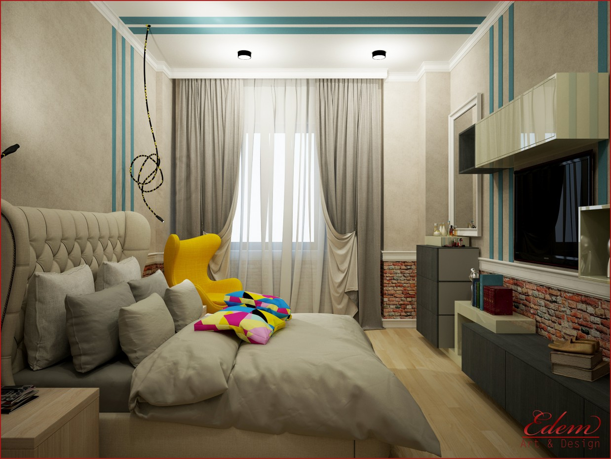 3d visualization of the project in the Bedroom 3d max, render vray of urodi