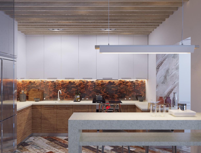 Кухня-студія в 3d max corona render зображення