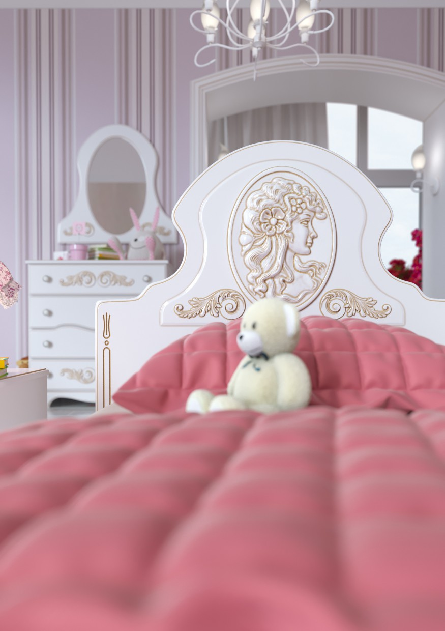Nursery room for girls in 3d max corona render image