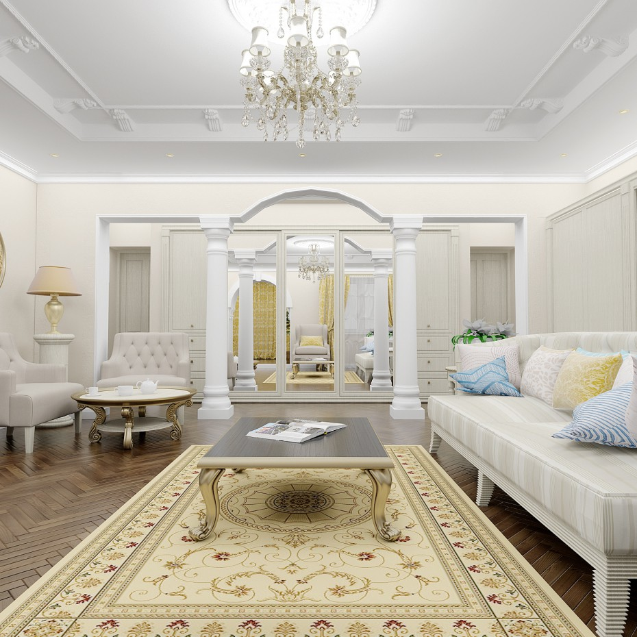 Living room in classic style in 3d max vray image