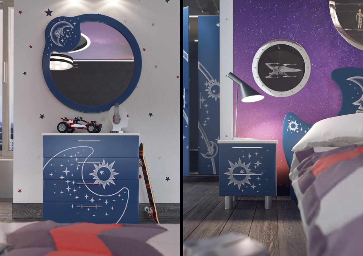 "3d visualization of the project in the Children room ""Galaxy"" 3d max, render corona render of Andrew.Fap"