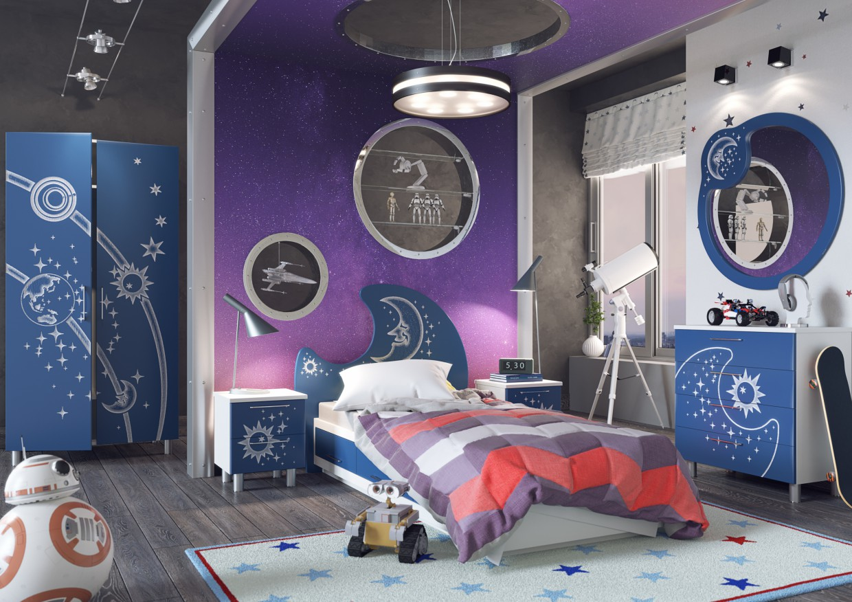"""imagen de Habitación de los niños """"Galaxy"""" en 3d max corona render"""