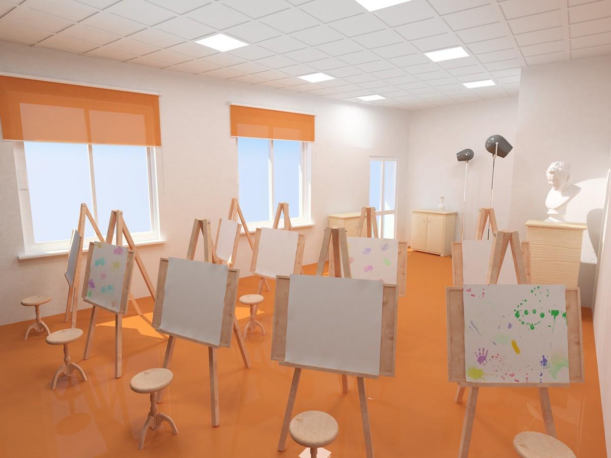 imagen de  Sala de pintura  en  3d max   vray