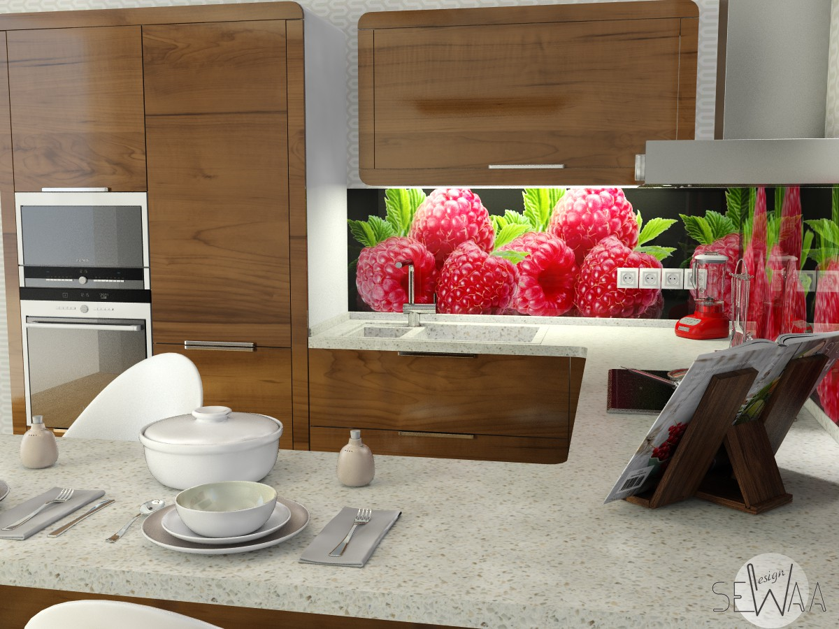 Draft of kitchen units in 3d max vray image