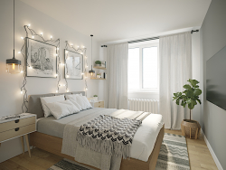 Bedroom in a Scandinavian style