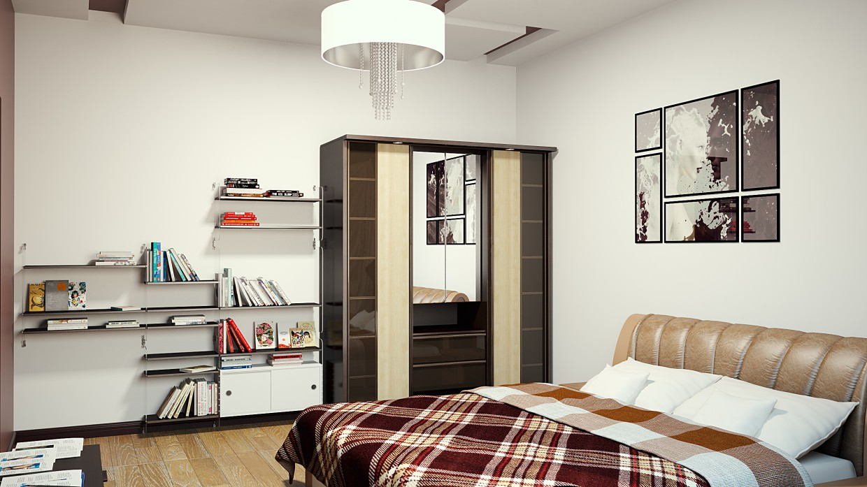 Bedroom in minimalistic style in 3d max vray image