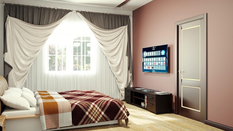 Спальня в минималистическом стиле в 3d max vray изображение