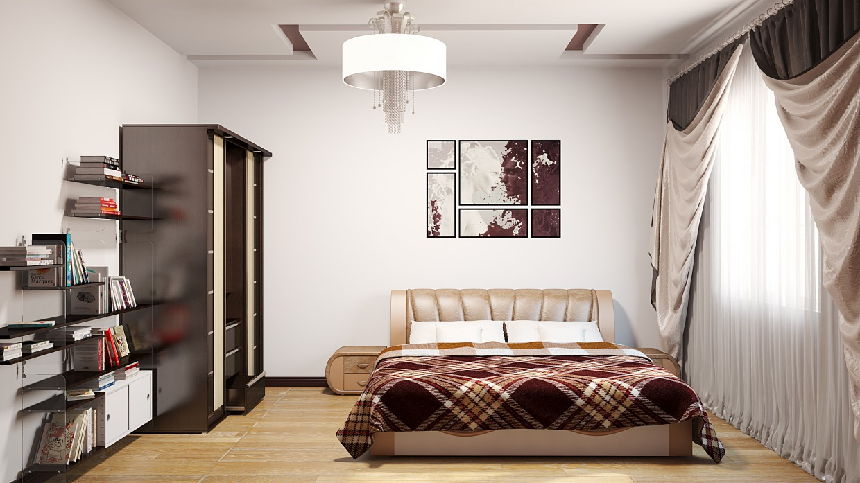 imagen de Dormitorio en estilo minimalista en 3d max vray