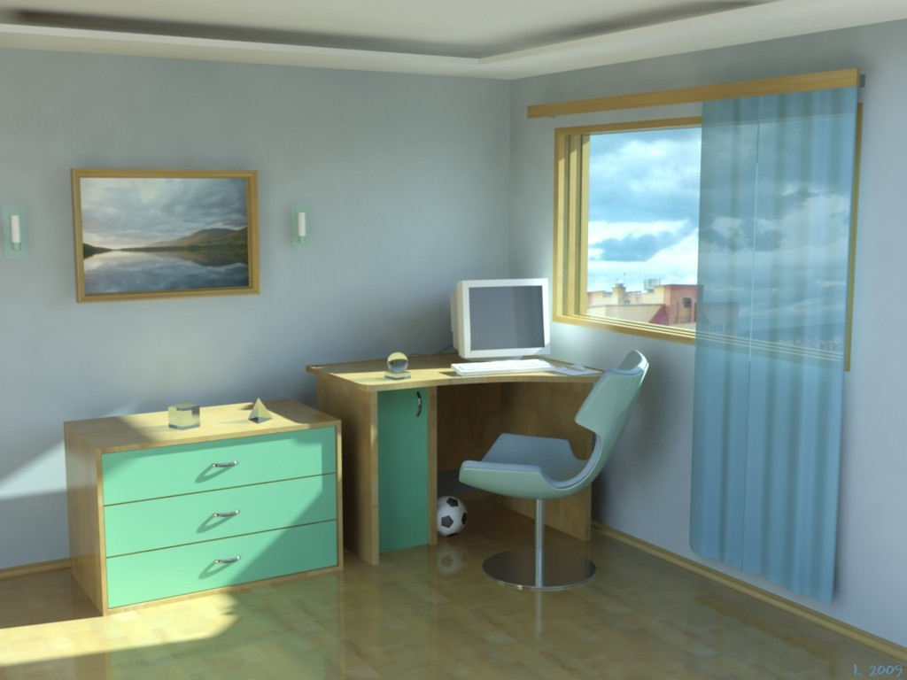 Visualização 3D do projecto no Casa interior 3d max , processar mental ray I.