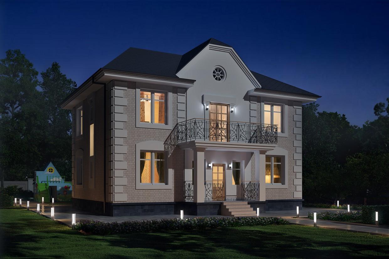 visualización 3D del proyecto en el Casa de 2 plantas con zona de juegos 3d max render vray 3.0 max-model