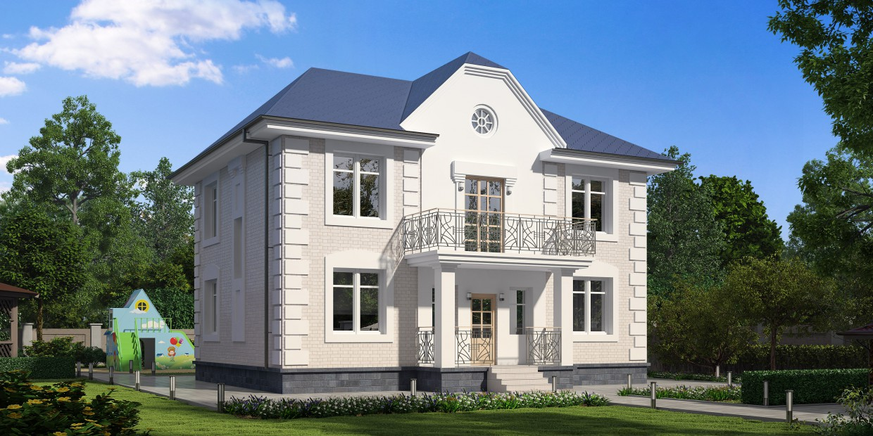 2 storey house with playground in 3d max vray 3.0 image