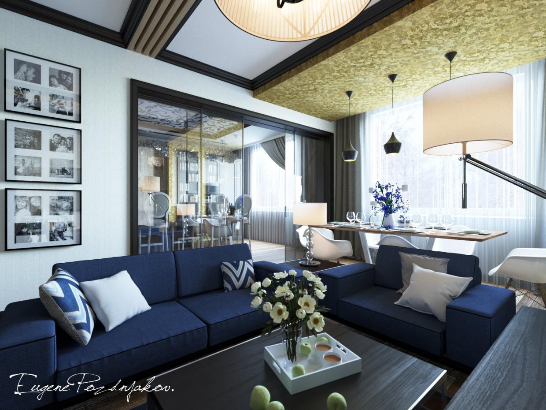 Гостиная в 3d max corona render изображение