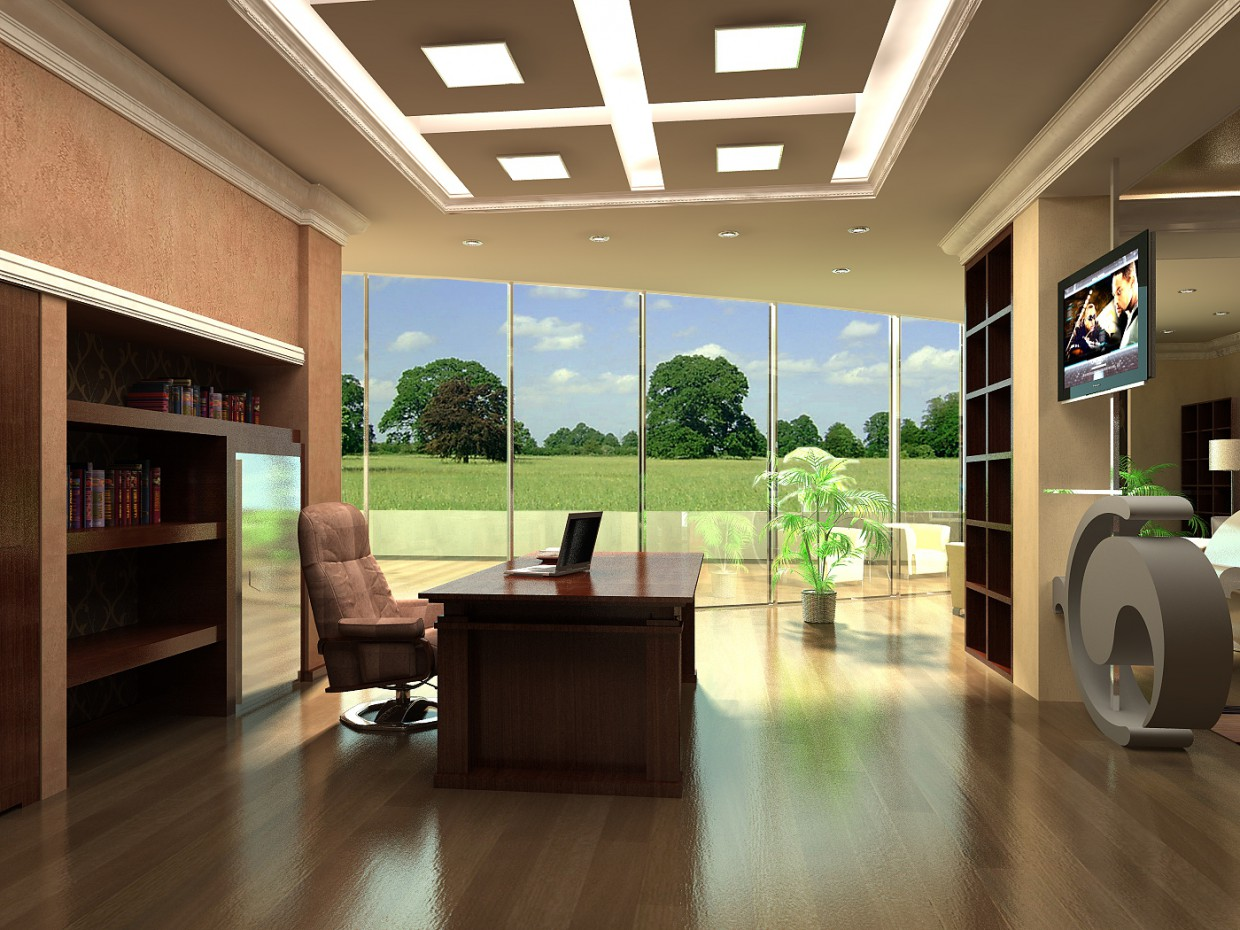 Office in a cottage in 3d max vray image