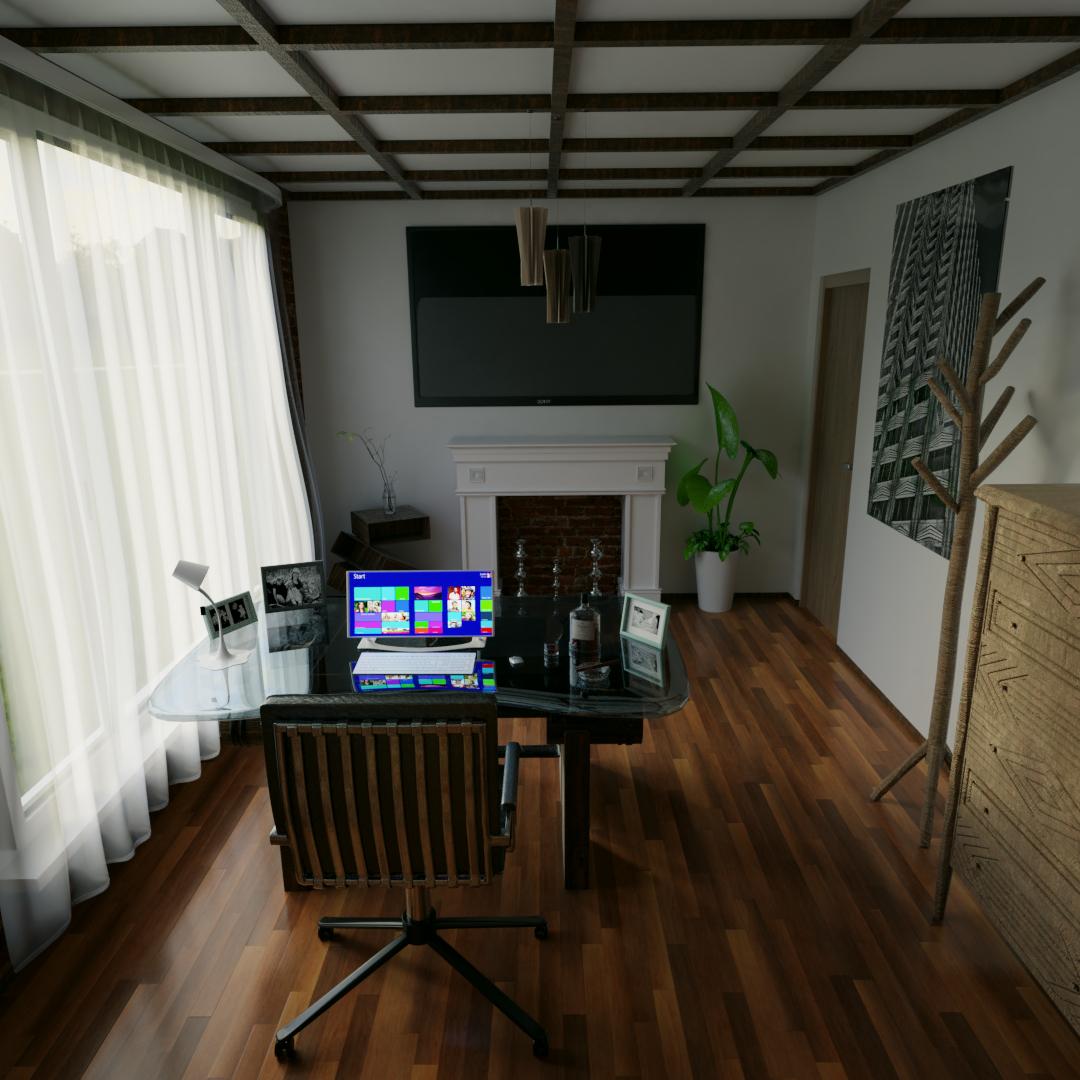 Study room in Blender cycles render image