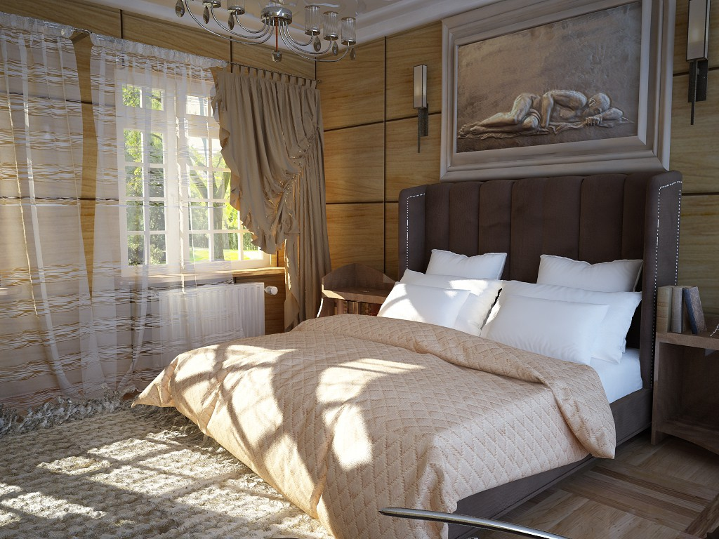 A cozy bedroom times Jeeves and Wooster. in Cinema 4d vray image