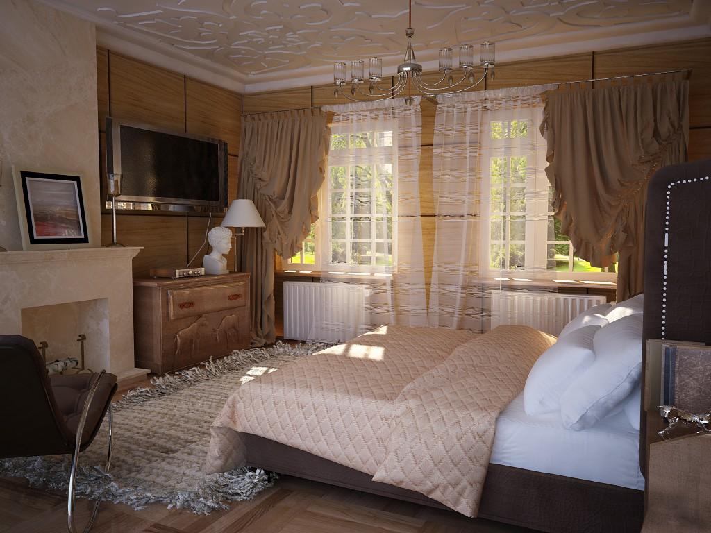 Уютная спальня времен Дживса и Вустера. в Cinema 4d vray изображение
