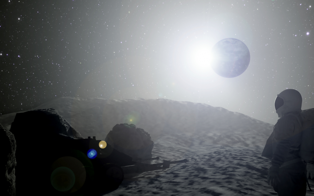 View from the moon in Cinema 4d corona render image