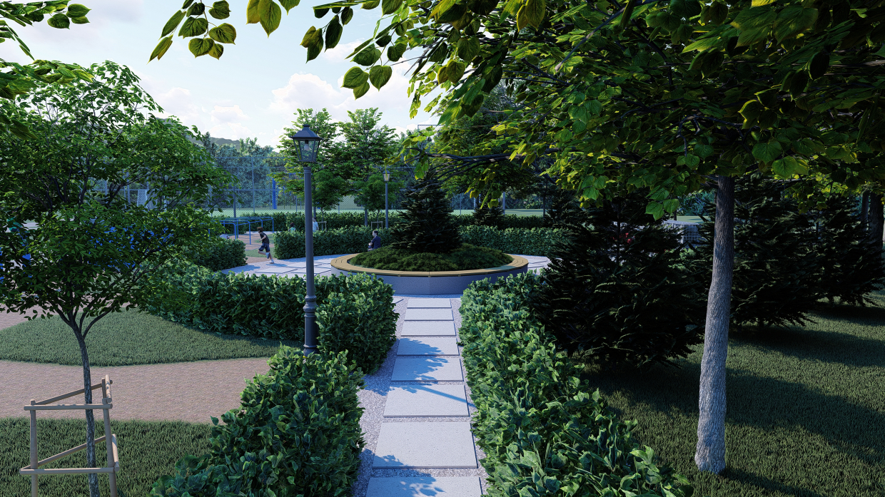 Project for the improvement of the recreation area at the school territory in SketchUp Standard image