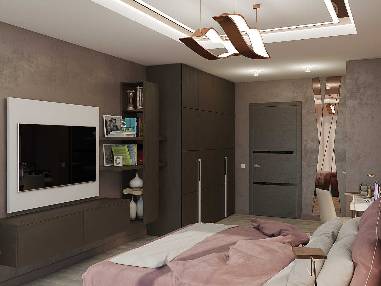 Bedroom in hotel style in 3d max vray 3.0 image