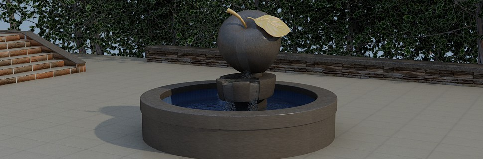 "Fountain ""Apple"" in 3d max vray image"
