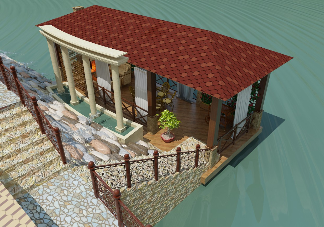 Summer terrase in 3d max vray 2.0 image
