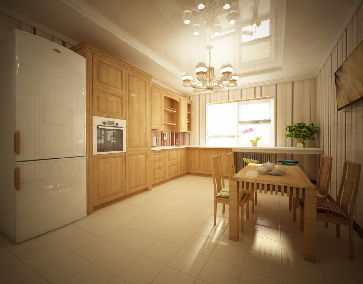 3d visualization of the project in the Country-house kitchen interior Cinema 4d, render vray of VIKOZZZ