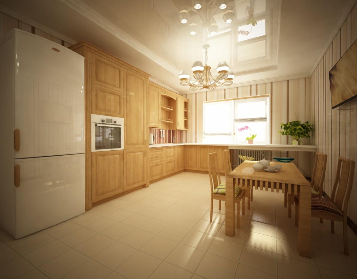 imagen de Interior de cocina de la casa de campo en Cinema 4d vray
