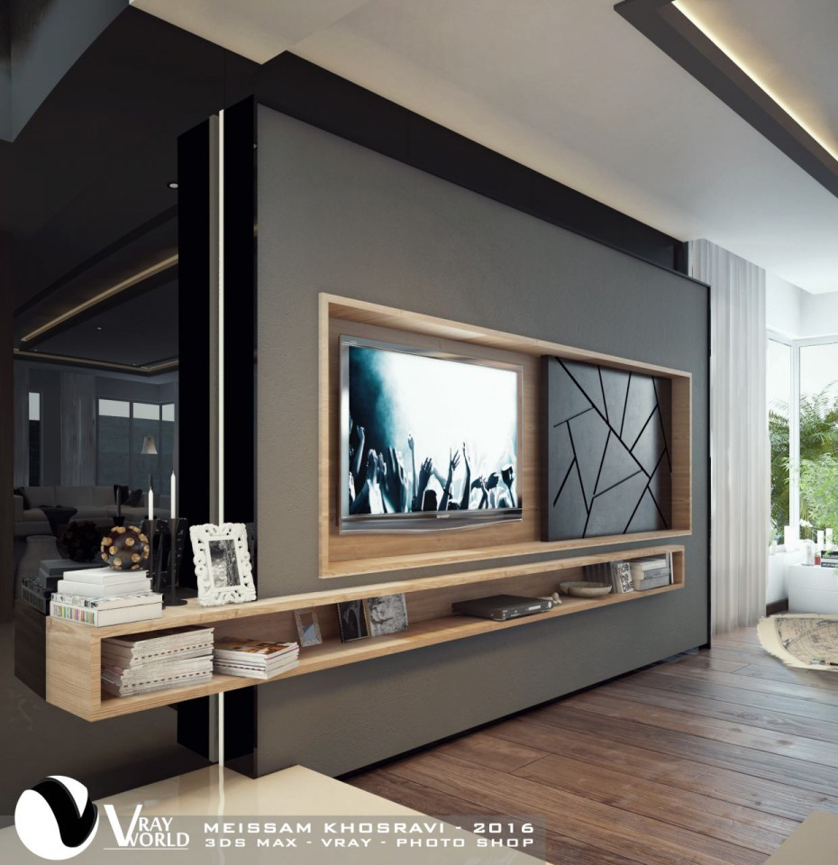 3d visualization of the project in the TV wall 3d max, render vray 3.0 of Meissam.khosravi