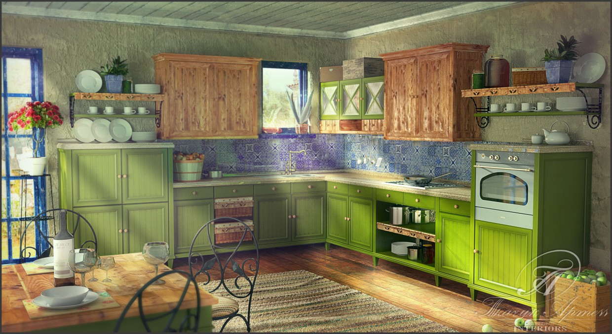 3d visualization of the project in the Kitchen 3d max, render vray of art23051988