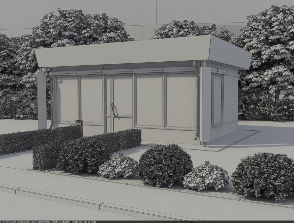 3d visualization of the project in the A shop 3d max, render vray of dell_master