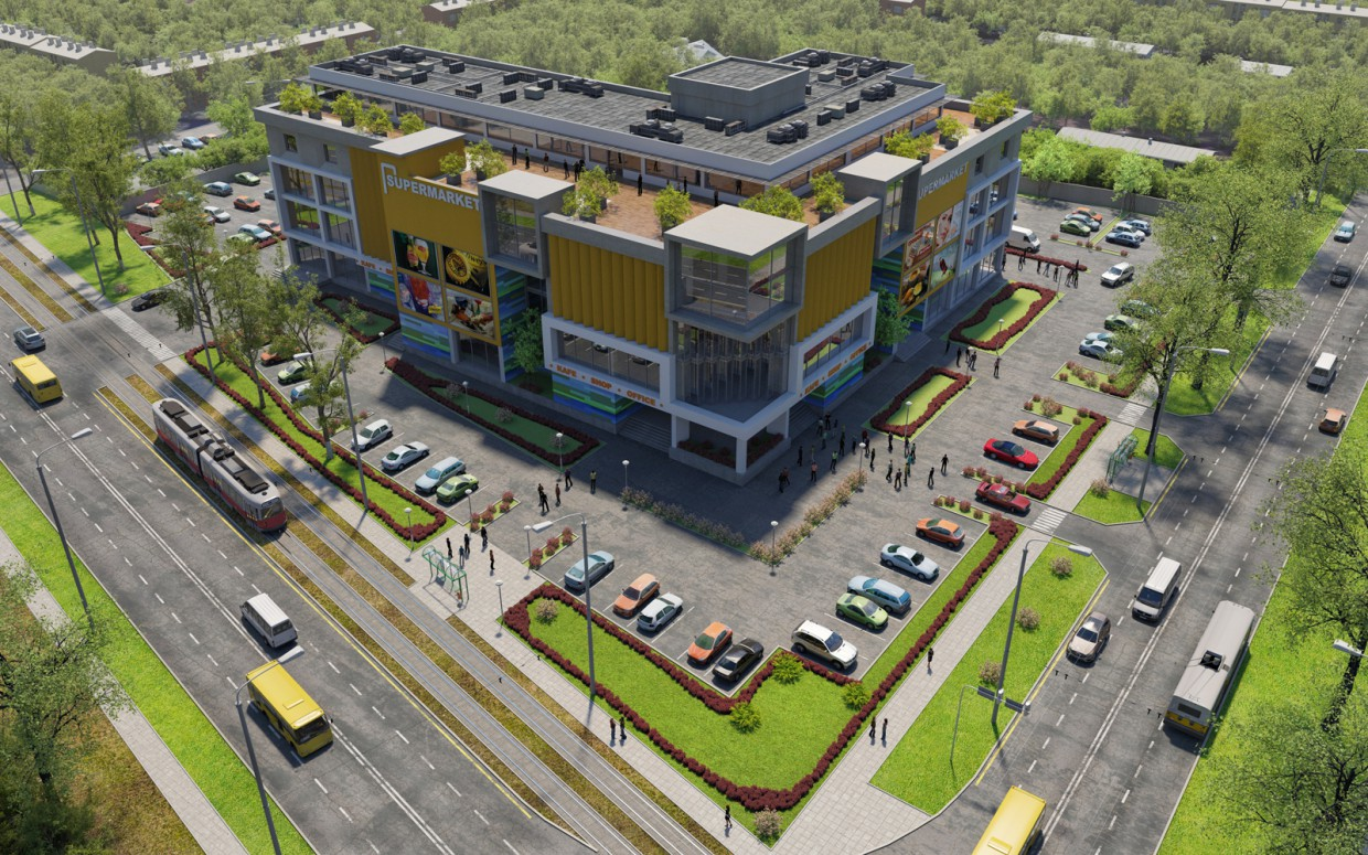 Shopping and entertainment complex. Concept. in 3d max corona render image