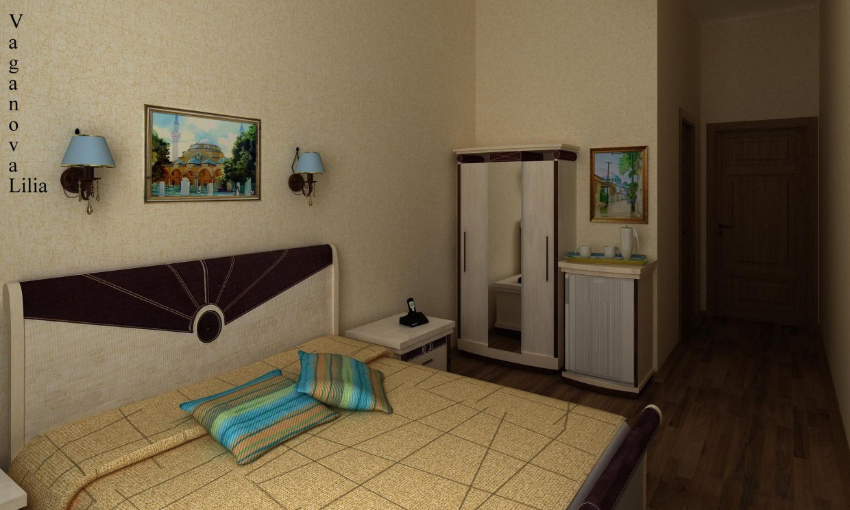 Hotel room  in  3d max   vray  image