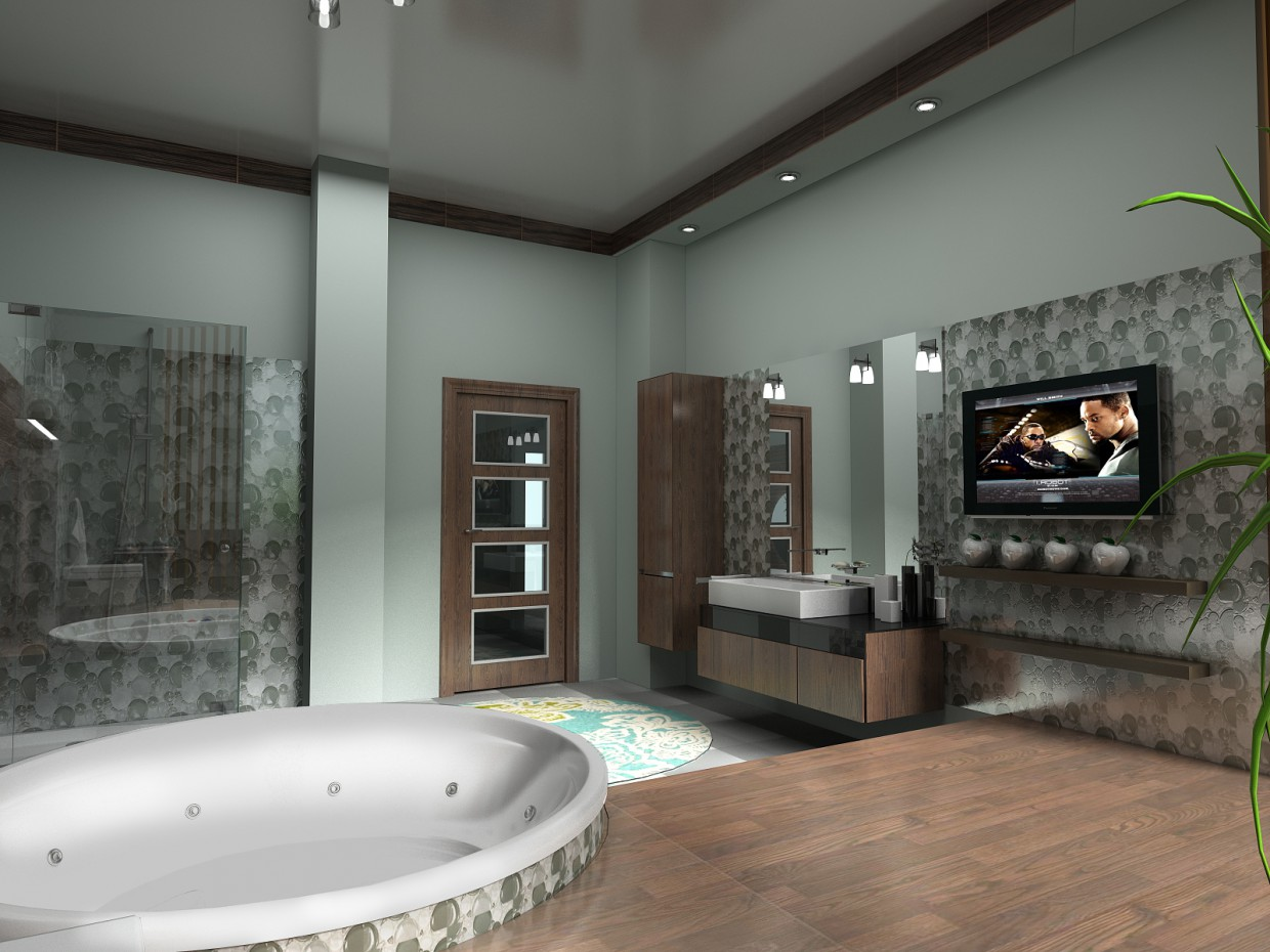 Bathroom in a cottage in 2 versions in 3d max vray image