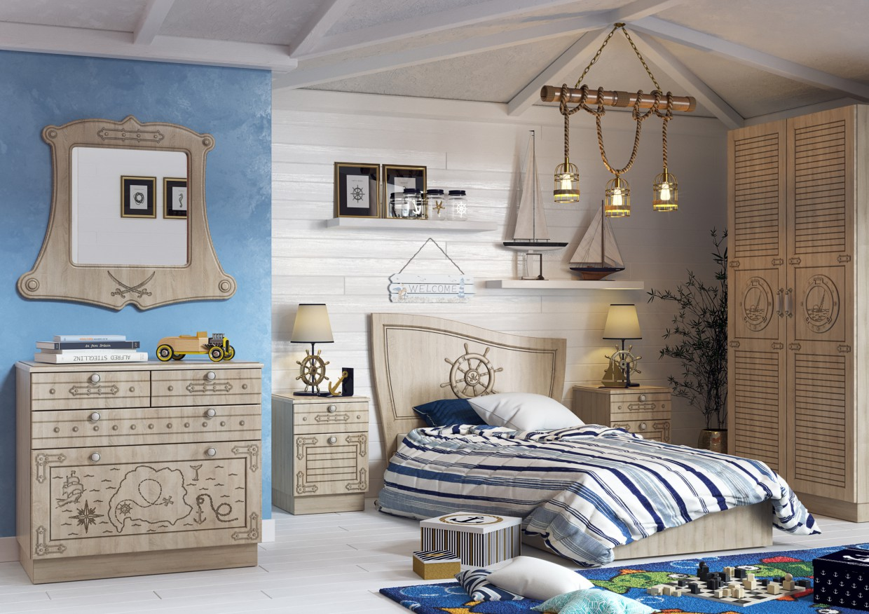 Children's room with a sea theme in 3d max corona render image
