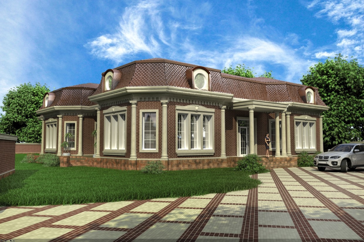 Facade of a private home (variants) in 3d max vray image