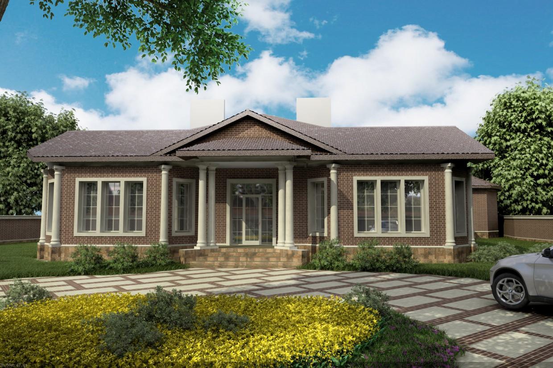 Фасад частного дома (Варианты) в 3d max vray изображение