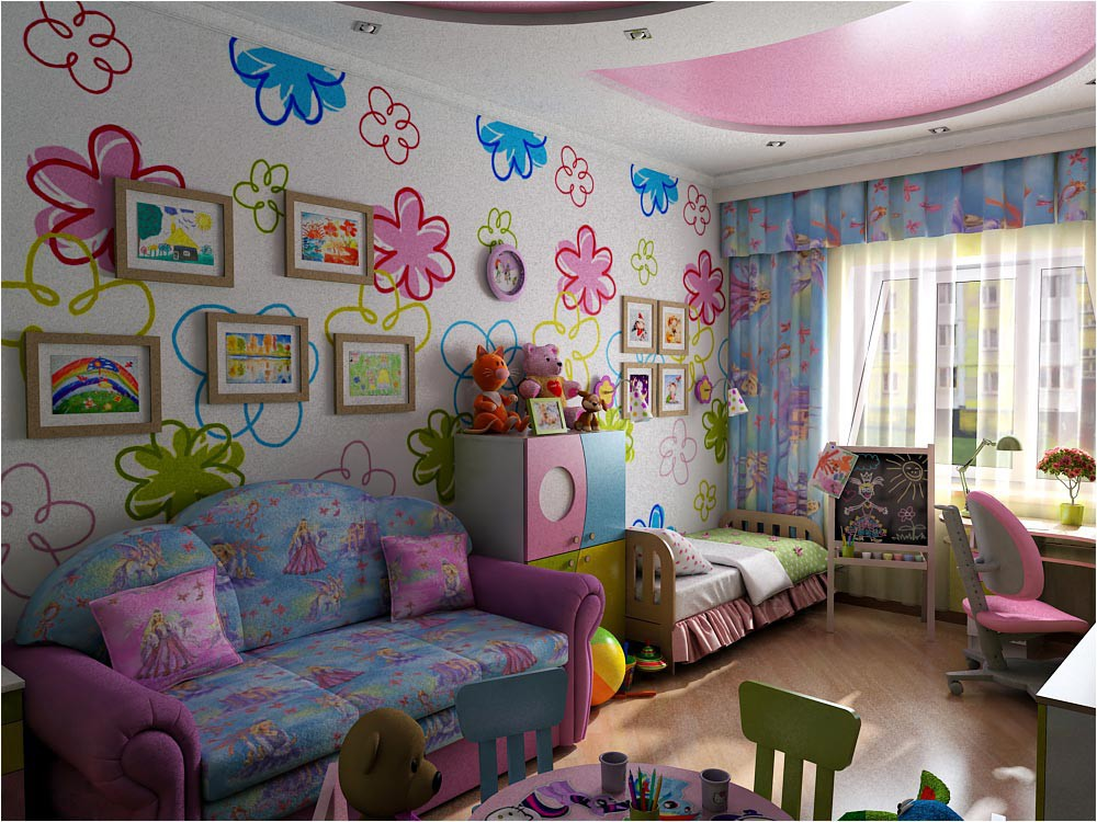 Children's room interior design in 3d max vray image