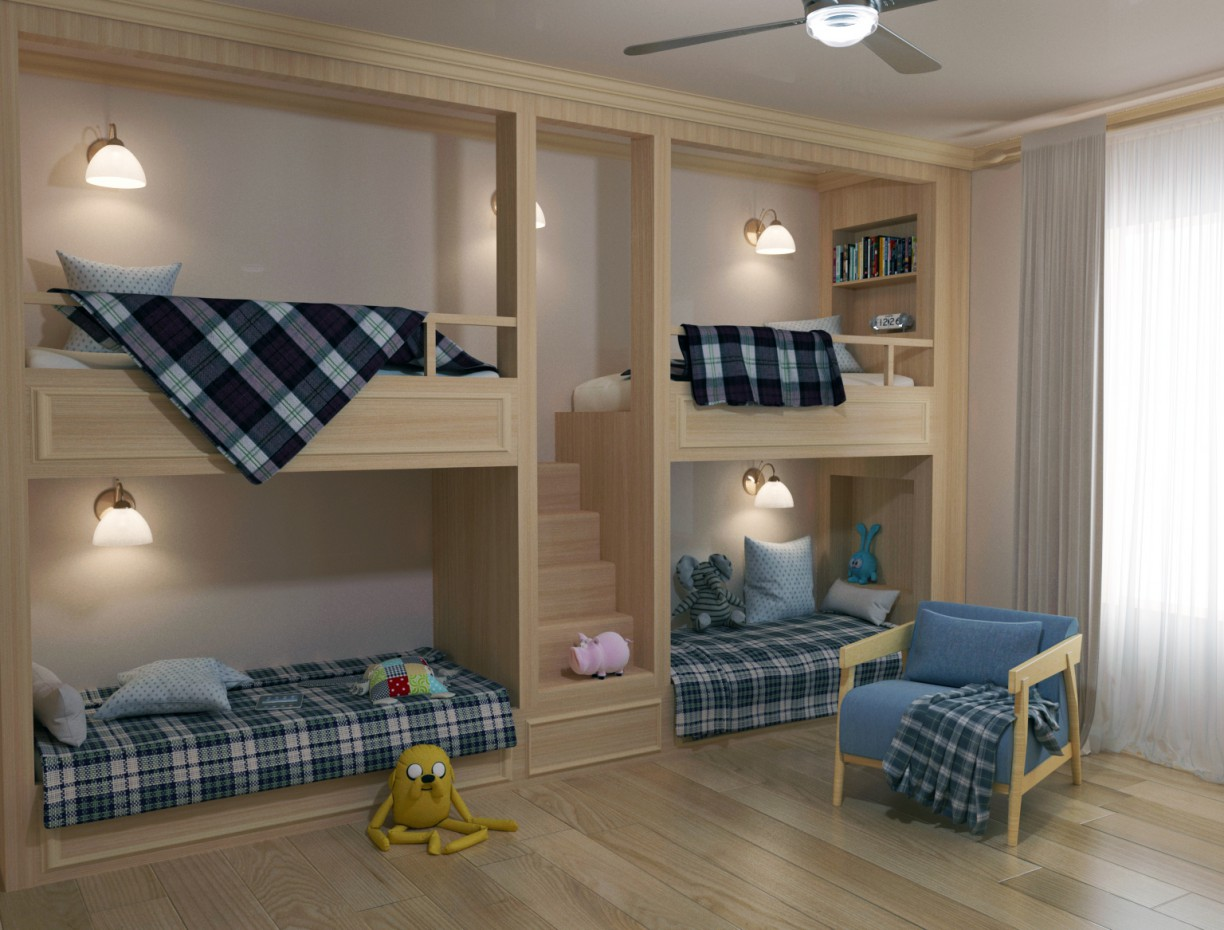 Children four-bed in 3d max corona render image