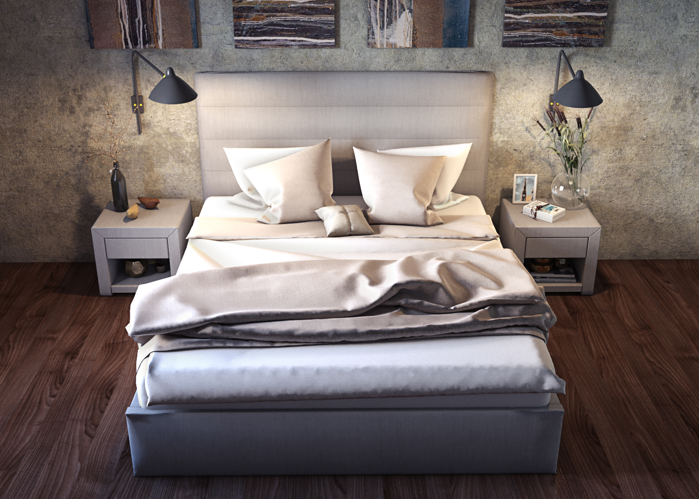 "Bed and bedside tables ""Opal"" in 3d max corona render image"