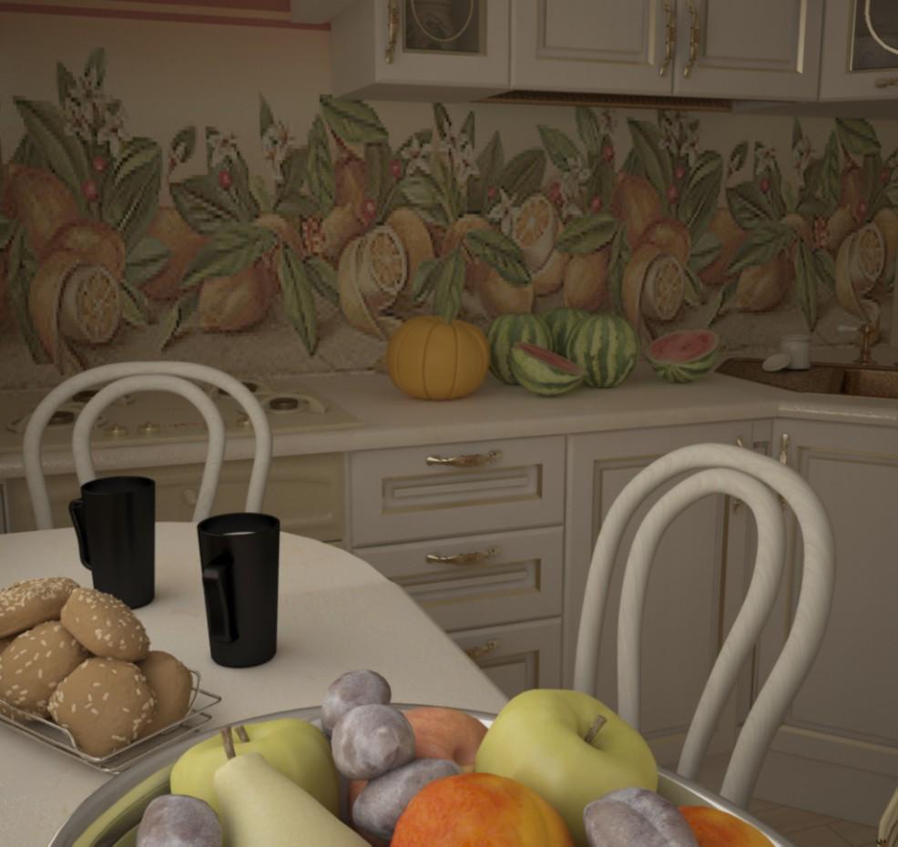 классическая кухня в 3d max vray изображение