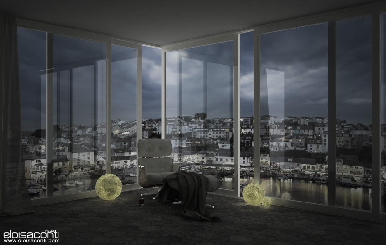 visualización 3D del proyecto en el La luna dentro de... Cinema 4d render vray eloisa.conti