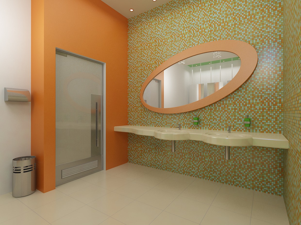 WC for children in a shopping centre in 3d max vray image