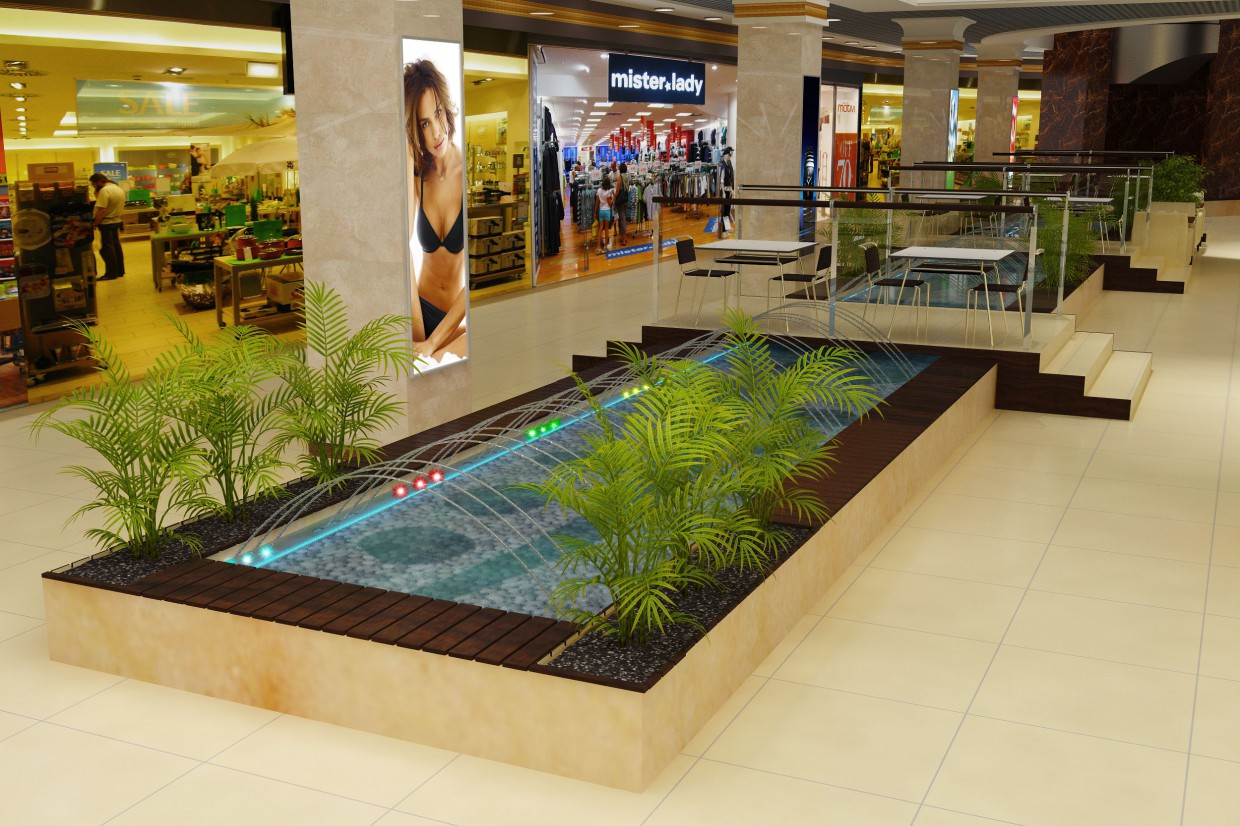 River with a fontain in a mall in 3d max vray image