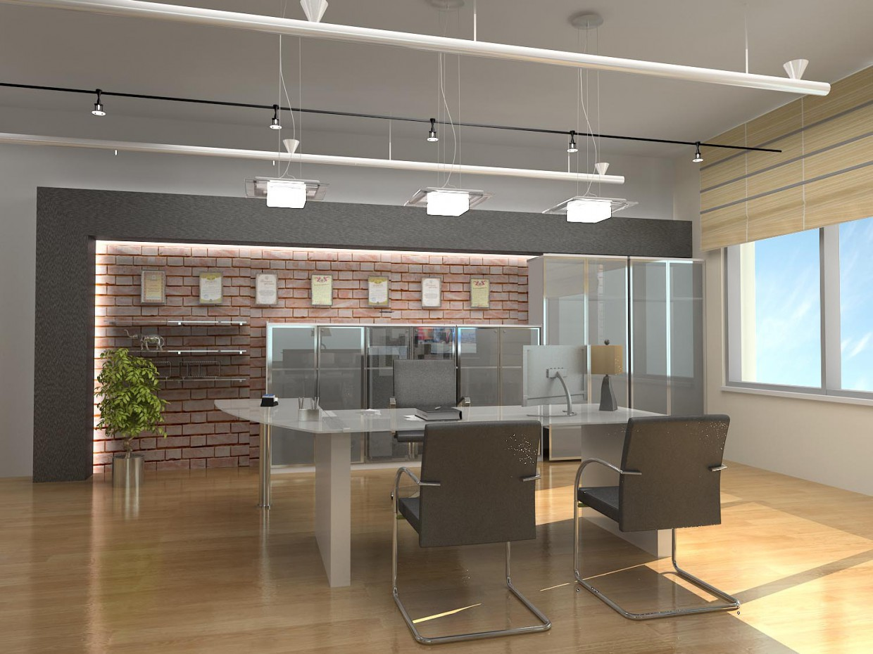 CEOs office in a shopping mall  in  3d max   vray  image
