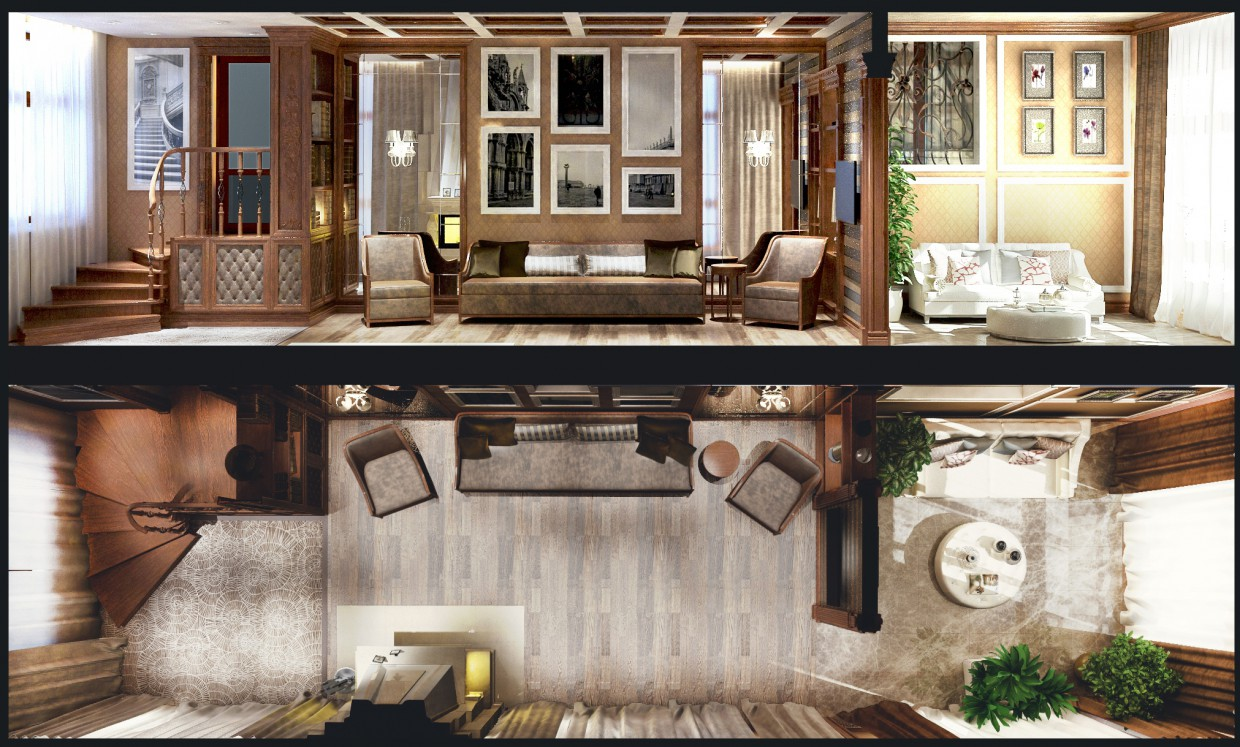 3d visualization of the project in the Balcony. 2 options 3d max, render vray of romanius