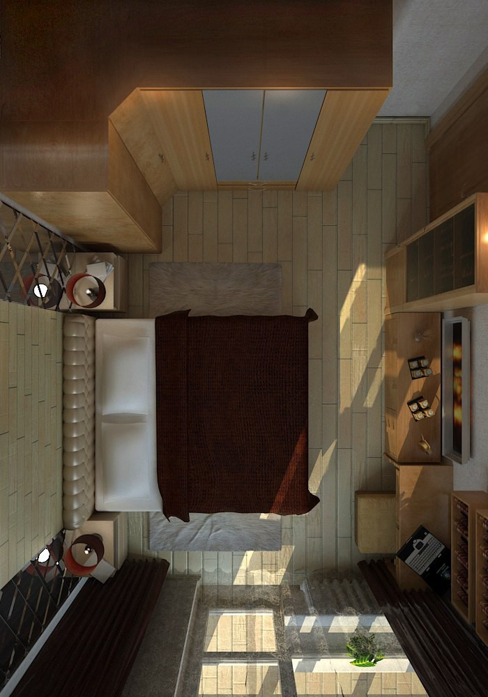 bedroom view from above in 3d max vray 3.0 image