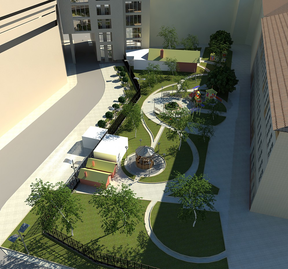 3d visualization of the project in the Yard, in Voronegh 3d max, render vray of Полина Ходина
