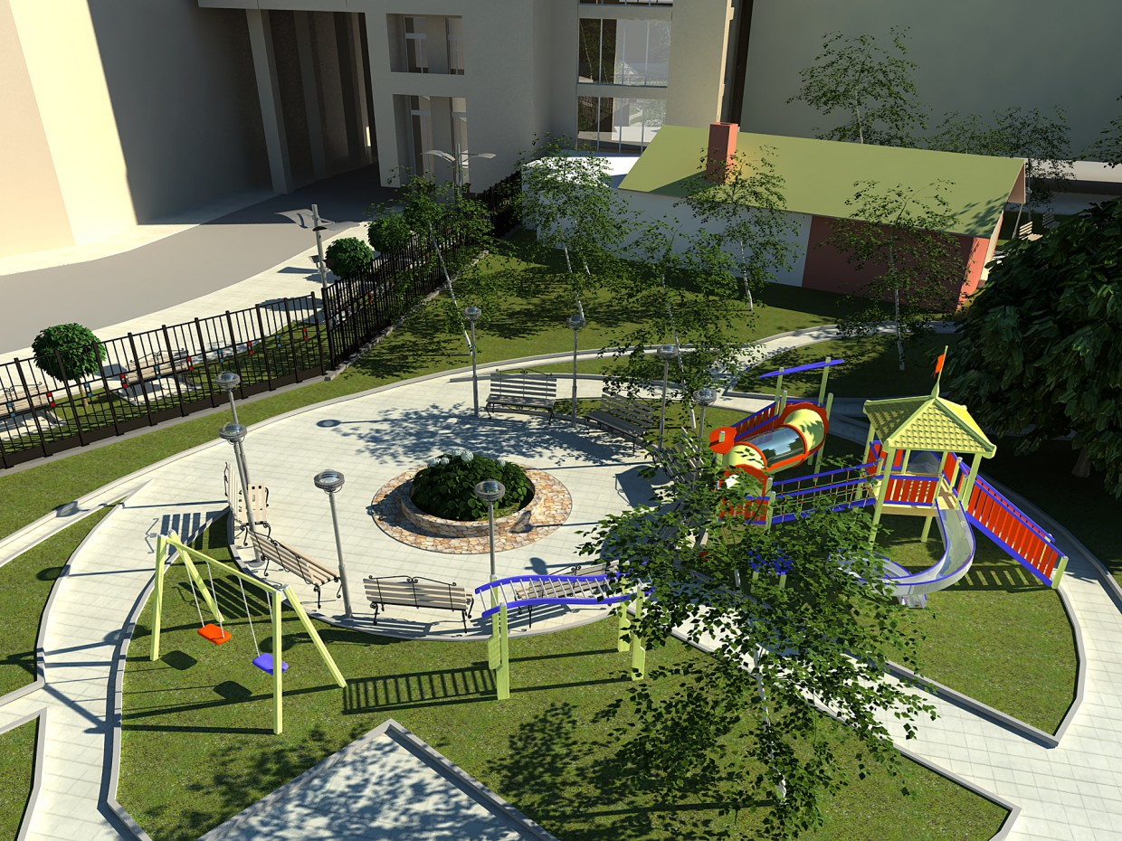 Yard, in Voronegh in 3d max vray image