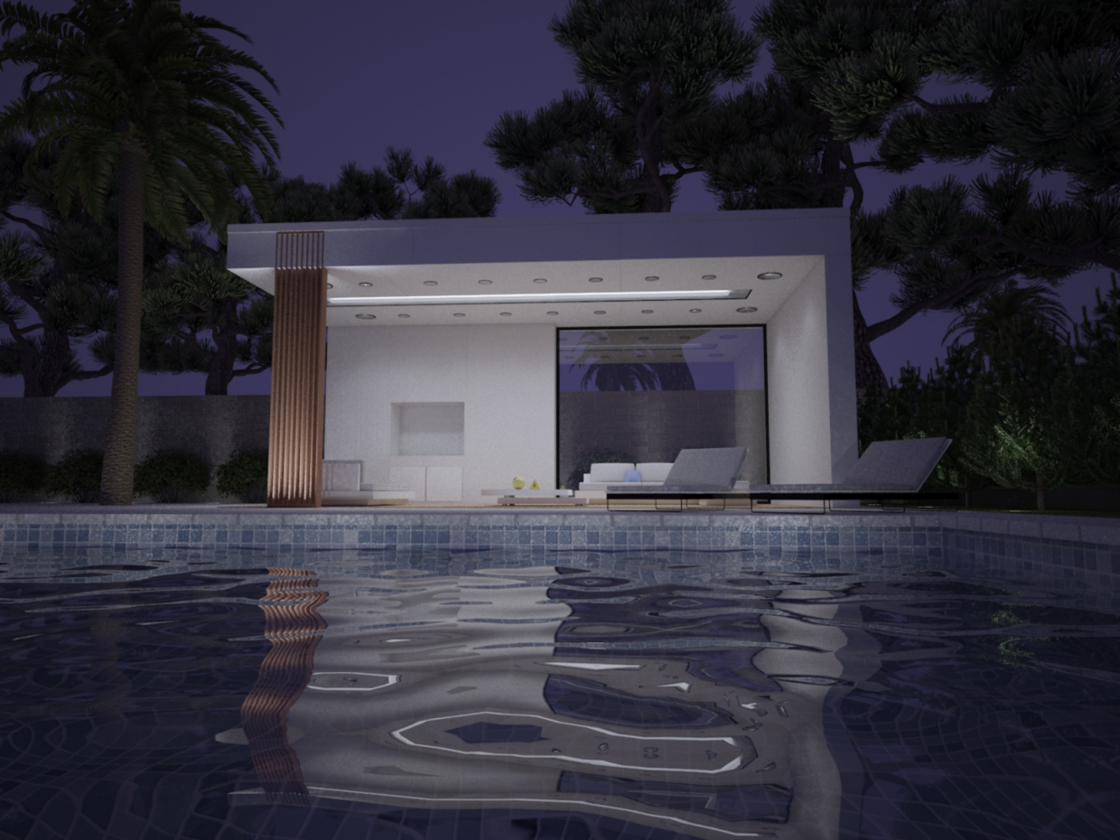 exterior-pool in 3d max vray 2.0 image