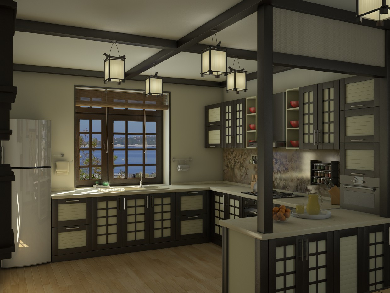 visualización 3D del proyecto en el Cocina de estilo japonés 3d max render vray Ленар